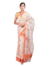 White and Orange Nuni Paat Mekhela Chadar