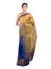 Yellow and Blue Nuni Mekhela Chadar