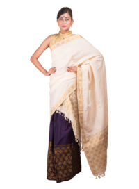 Purple and White Brocade Guna Mekhela Chadar