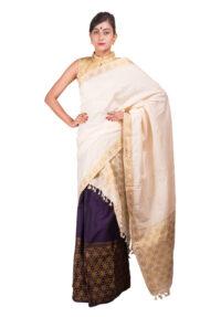 Purple and White Brocade Guna Mekhela Chadar
