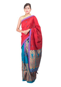 Red and Blue Tana Paisley Mekhela Chadar