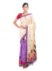 Purple and Light Yellow Mekhela Chadar