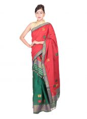 Red and Green Butterfly motif Mekhela Chadar