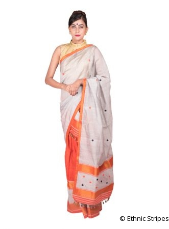 Ash Grey and Orange Golden work Mekhela Chadar