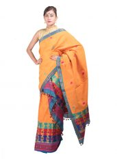 Orange Multicolour Heavy Floral Mekhela Chadar