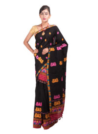 Black Multicolour threadwork Mekhela Chadar
