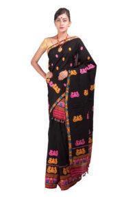 Black Multicolour threadwork Mekhela Chadar