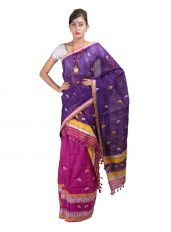 Purple and Pink Checked Mekhela Chadar