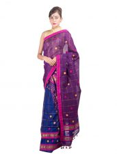 Blue and Purple Checked Mekhela Chadar