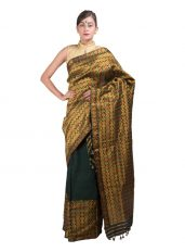 Golden and Green Heavy Guna Mekhela Chadar