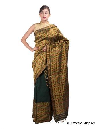 Golden and Green Heavy Guna Mekhela Chadar