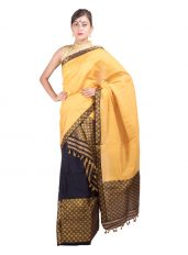 Yellow and Blue Brocade Mekhela Chadar