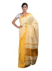Yellow Soft Silk Mekhela Chadar