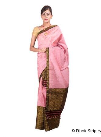Light Pink Brocade Mekhela Chadar