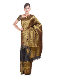 Black and Gold Heavy Floral Mekhela Chadar