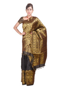 Black and Gold Heavy Floral Mekhela Chadar