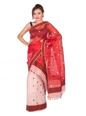 Brick Red and Peachy Nuni Mekhela Chadar
