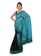 Blue and Black Buti motif Mekhela Chadar