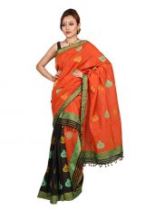 Orange and Black Kalsi design Mekhela Chadar