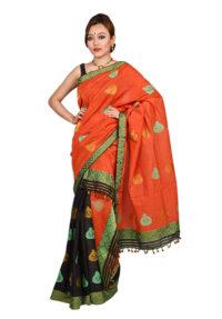 Orange and Black Kalsi design Mekhela Chadar