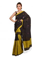 Black and Yellow Broad Panel Mekhela Chadar