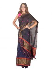 Black and Blue Floral Nuni Mekhela Chadar