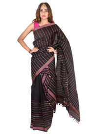 Black Multicolour Stripped Mekhela Chadar