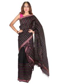 Black Multicolour Stripped Mekhela Chadar