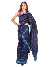 Navy Blue Multicolour Stripped Mekhela Chadar