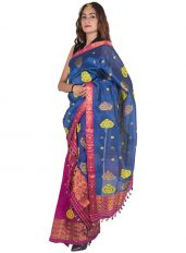 Pink and Blue Heavy Floral Nuni Mekhela Chadar