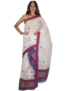 White Mekhela Chadar with Blue and Red accents