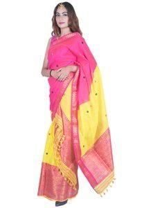 Pink and Yellow Floral Guna Mekhela Chadar