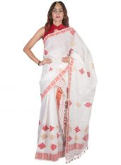 White and Red Floral Nuni Mekhela Chadar