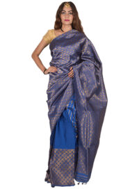 Gold and Blue Silk Mekhela Chadar