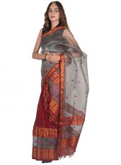 Copper and Grey Floral Nuni Mekhela Chadar