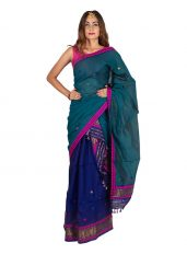 Bottle Green and Navy Blue Floral Mekhela Chadar