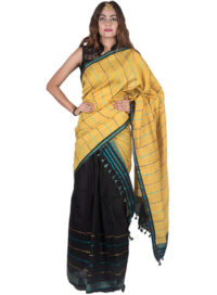 Yellow and Black Stripped Mekhela Chadar