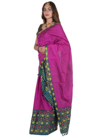 Green and Pink Floral Brocade Mekhela Chadar