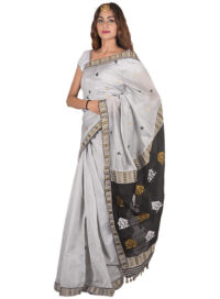 Silver with Black Aanchal Gos Buta Saree