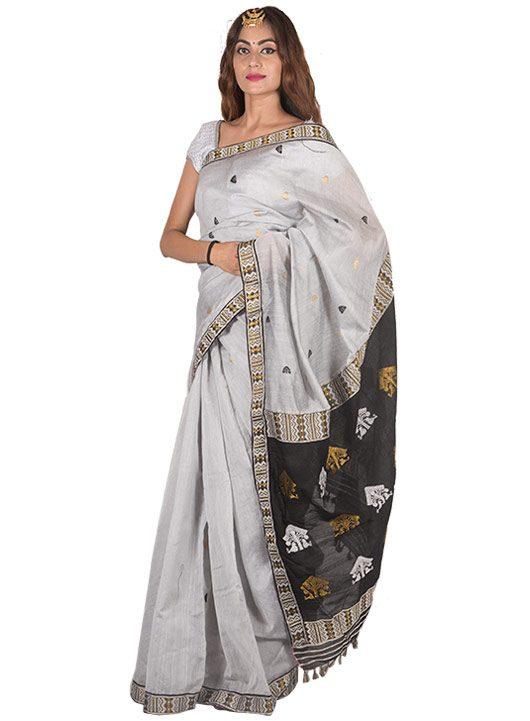 Silver with Black Aanchal Gos Buta Saree