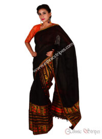 Black Mekhela Chadar with Golden Orange motifs