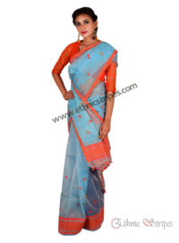 Light Blue Mekhela Chadar with Orange Accents