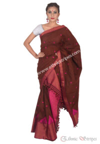 Coffee and Pink Pahar Design Mekhela Chadar