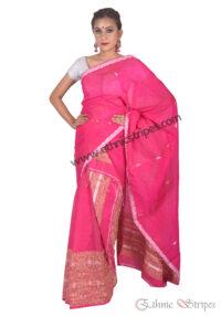 Rani Pink Woven Ghicha Mekhela Chadar