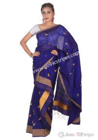 Ink Blue Mekhela Chadar with Sorai motif