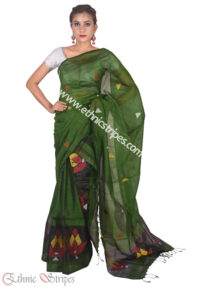 Leaf Green Karbi Style Mekhela Chadar