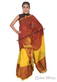 Rust and Yellow Guna Mekhela Chadar