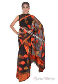 Black and Orange Floral Nuni Mekhela Chadar