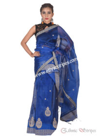 Bright Blue Pure Silk Mekhela Chadar