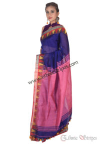 Pink and Blue Pahar Design Saree
